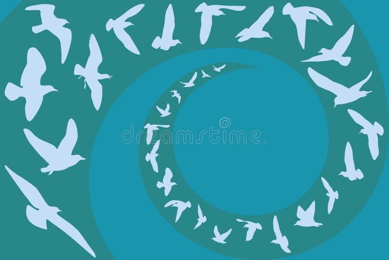 De vlieg van zeemeeuwen vector illustratie