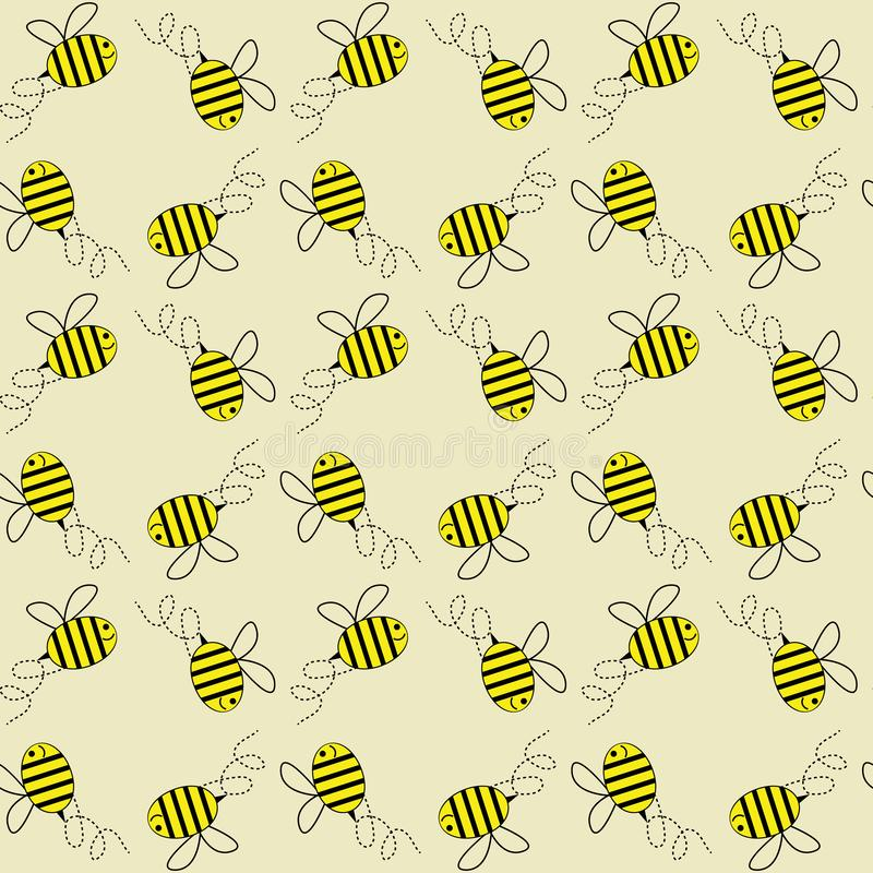 De vliegende achtergrond van het honingbijen vector naadloze patroon stock illustratie