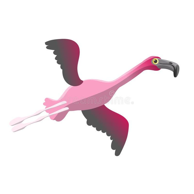 De vliegende beeldverhaal leuke roze flamingo isoleert vectorbeeld royalty-vrije illustratie
