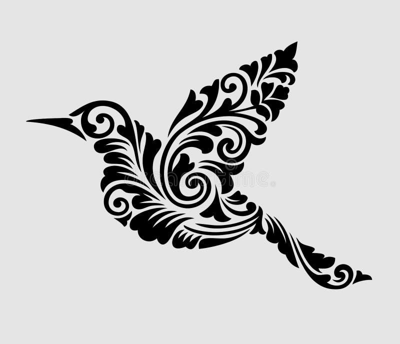 De vliegende decoratie van het vogel bloemenornament royalty-vrije illustratie