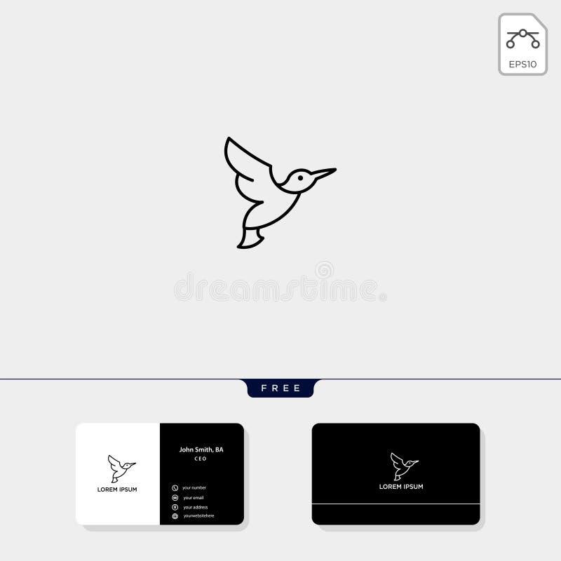 De vliegende het malplaatje vectorillustratie van het Vogelembleem en de embleeminspiratie voor collectief, adreskaartjeontwerp o vector illustratie
