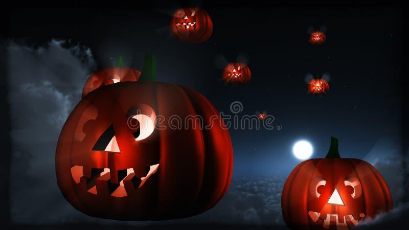 De vliegende pompoenen van Halloween stock illustratie