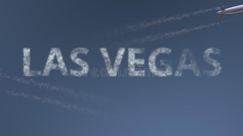 De vliegende vliegtuigenslepen en titel van Las Vegas Het reizen naar het conceptuele 3D teruggeven van Verenigde Staten royalty-vrije illustratie