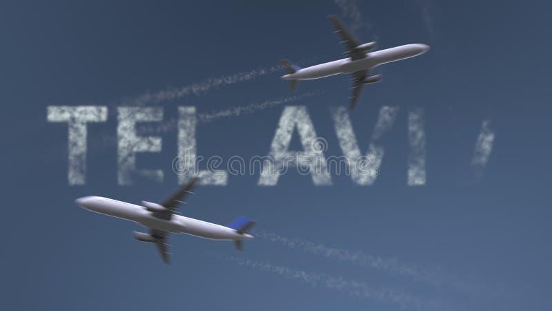 De vliegende vliegtuigenslepen en titel van Tel Aviv Het reizen naar het conceptuele 3D teruggeven van Israël stock illustratie