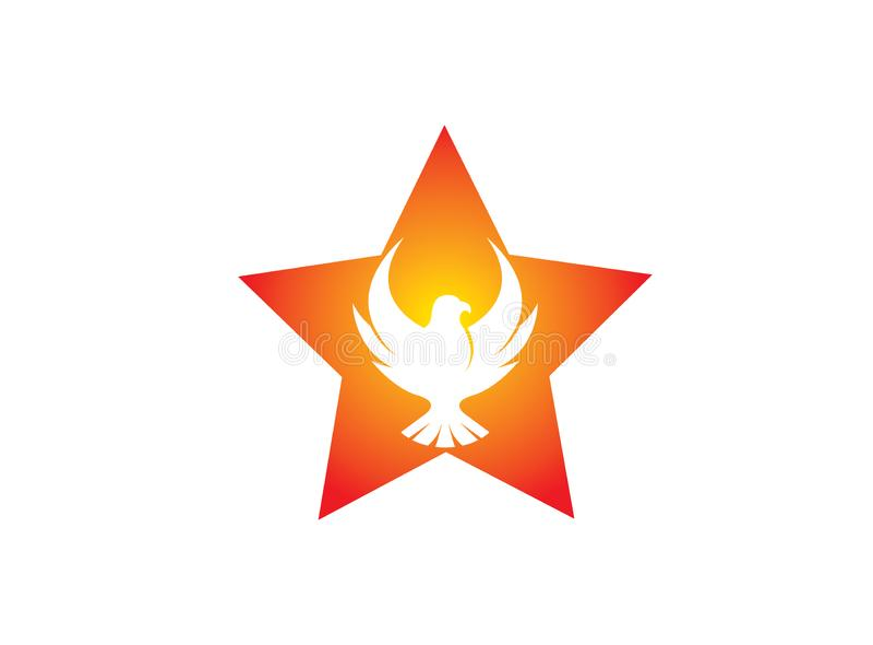 De vliegende vogel van Phoenix binnen het ster en adelaars open vleugelsembleem royalty-vrije illustratie