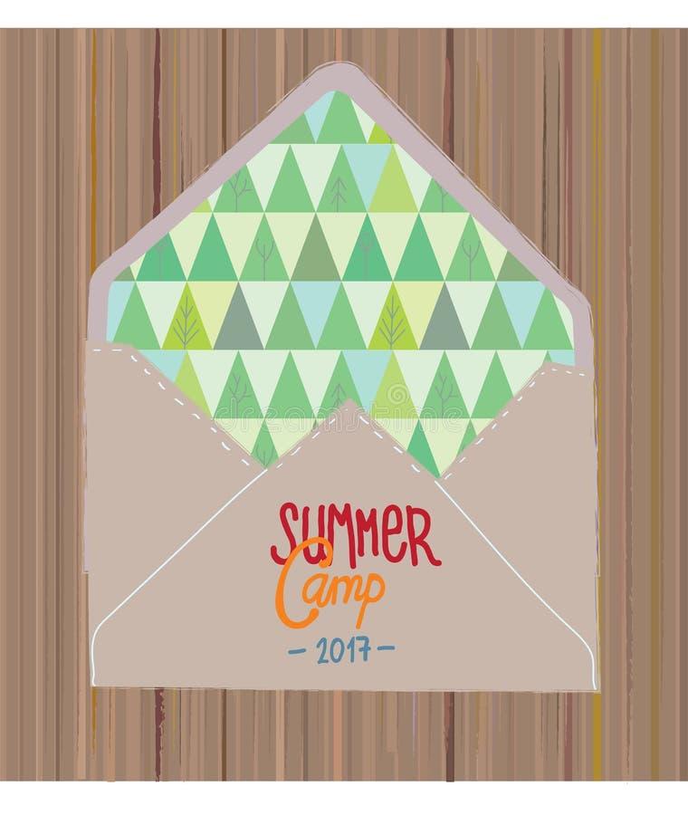 De vlieger of de uitnodiging van het de zomerkamp met hout stock illustratie