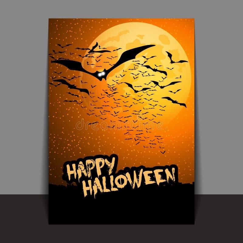 De Vlieger of de Dekkingsontwerp van Halloween met Veel Vliegende Knuppels over het Nachtgebied in de Duisternis onder de Sterrig vector illustratie