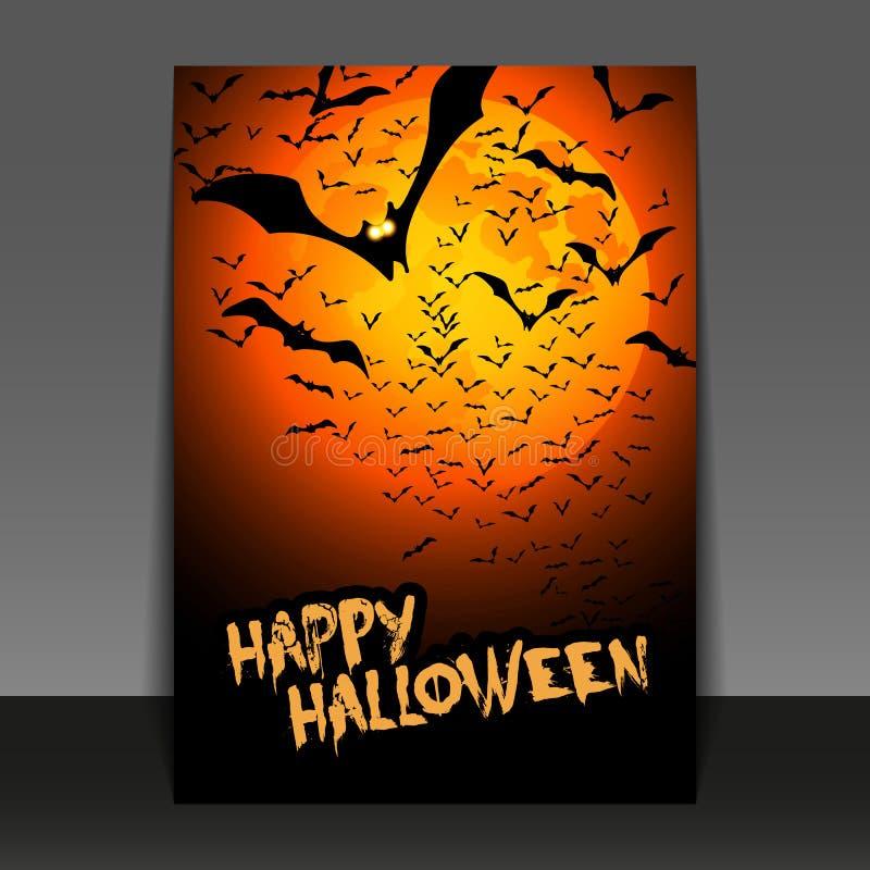 De Vlieger of de Dekkingsontwerp van Halloween met Veel Vliegende Knuppels tijdens de Nacht royalty-vrije illustratie