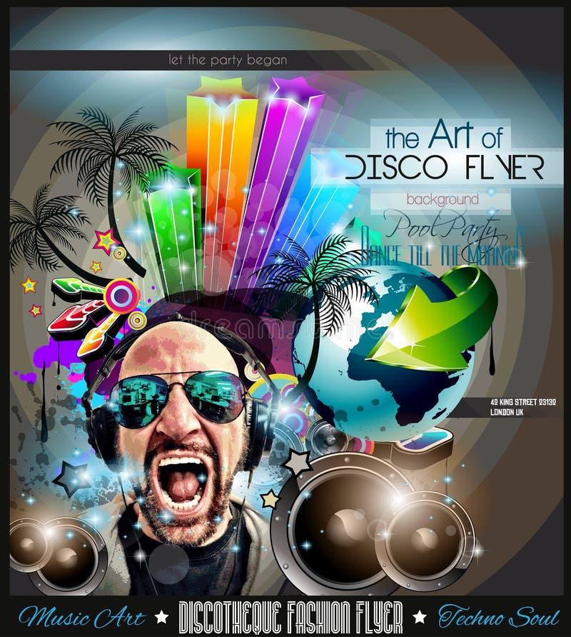 De Vlieger van de clubdisco met DJs en Kleurrijke achtergronden wordt geplaatst die stock illustratie