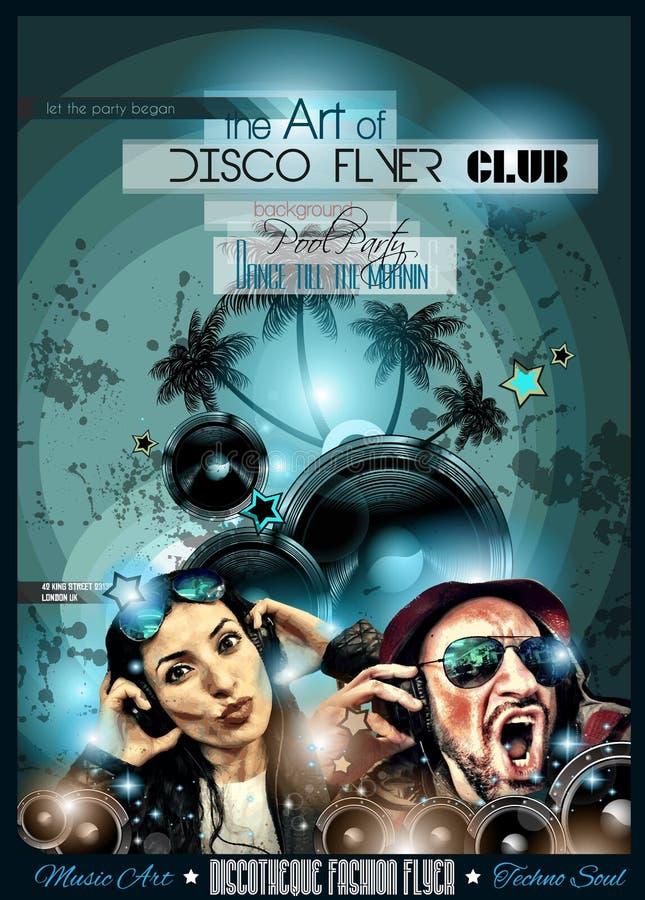 De Vlieger van de clubdisco met DJs en Kleurrijke achtergronden wordt geplaatst die vector illustratie