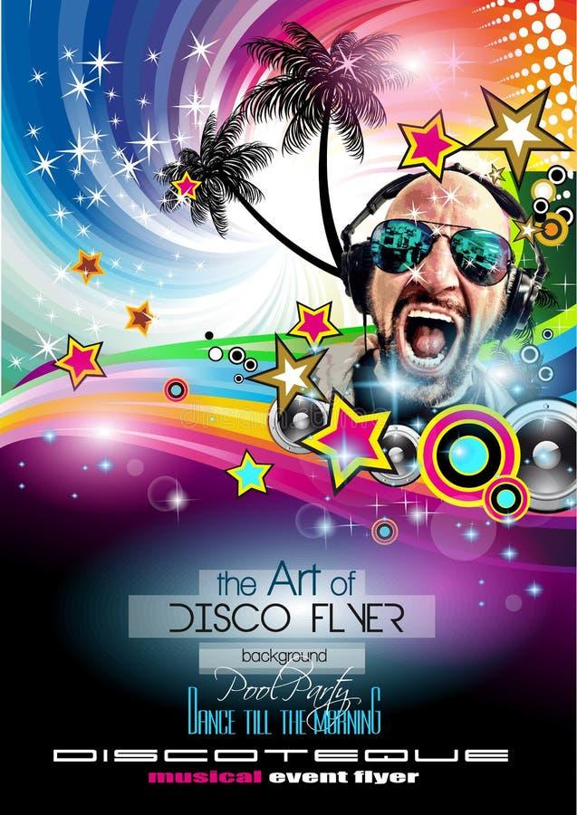 De Vlieger van de clubdisco met DJs en Kleurrijke achtergronden wordt geplaatst die royalty-vrije illustratie