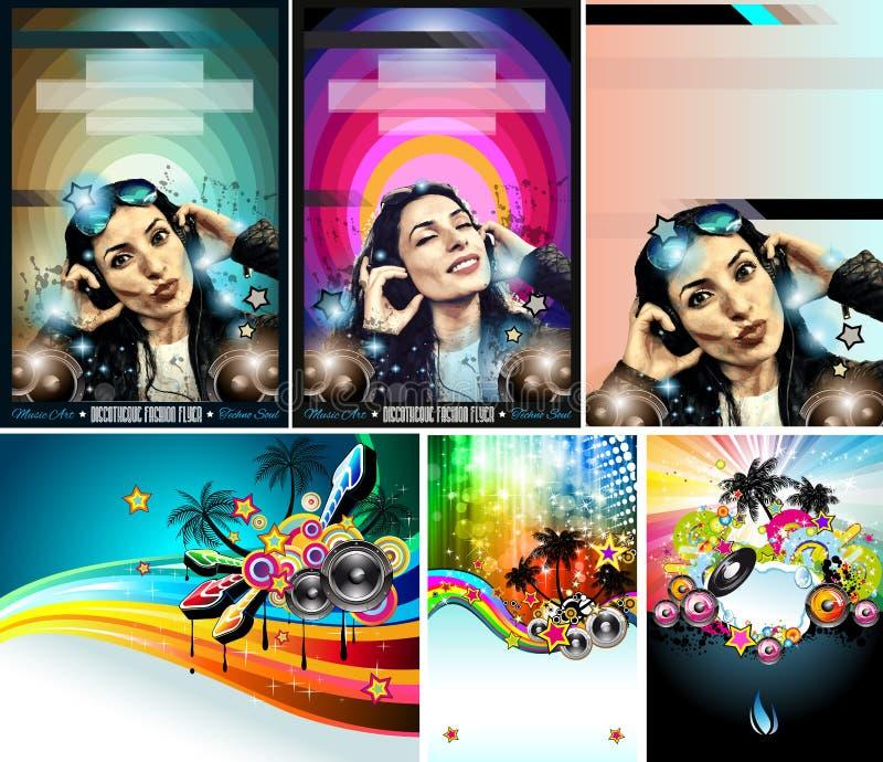 De Vlieger van de clubdisco met het Meisje en de palmen die van DJ wordt geplaatst stock illustratie