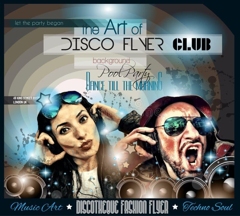 De Vlieger van de clubdisco met Muziek als thema gehade achtergronden wordt geplaatst die vector illustratie