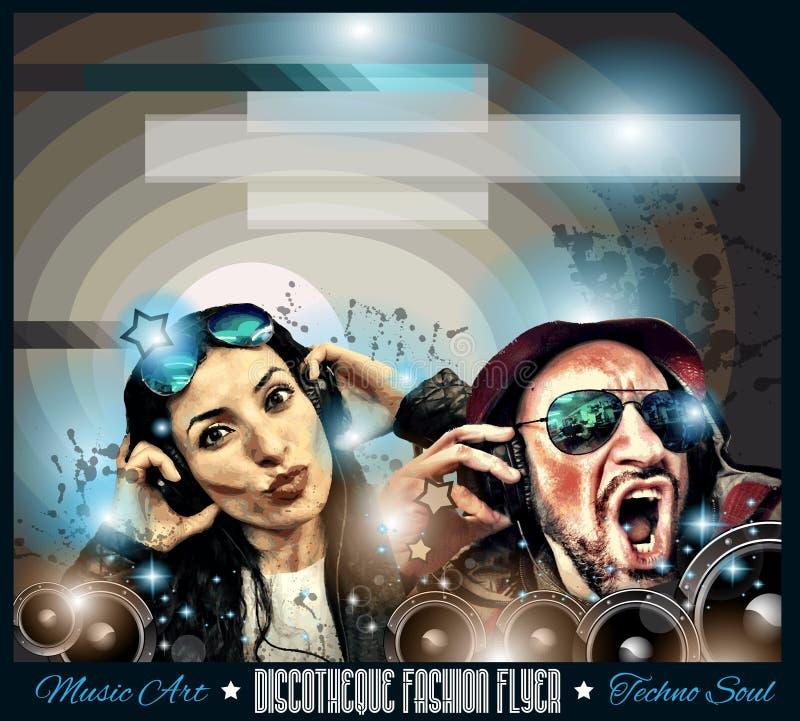 De Vlieger van de clubdisco met Muziek als thema gehade achtergronden wordt geplaatst die royalty-vrije illustratie
