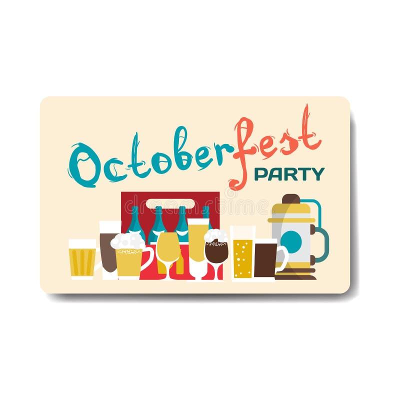 De vlieger van de Octoberfestpartij Stilleven van biermokken, flessen royalty-vrije illustratie