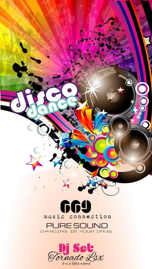 De Vlieger van de partijclub voor Muziekgebeurtenis met Explosie van kleuren stock illustratie