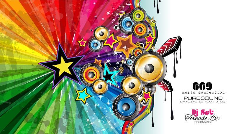 De Vlieger van de partijclub voor Muziekgebeurtenis met Explosie van kleuren royalty-vrije illustratie