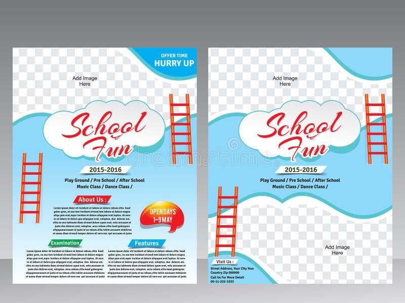 De vlieger van de schoolpret & het malplaatje van het tijdschriftontwerp royalty-vrije illustratie