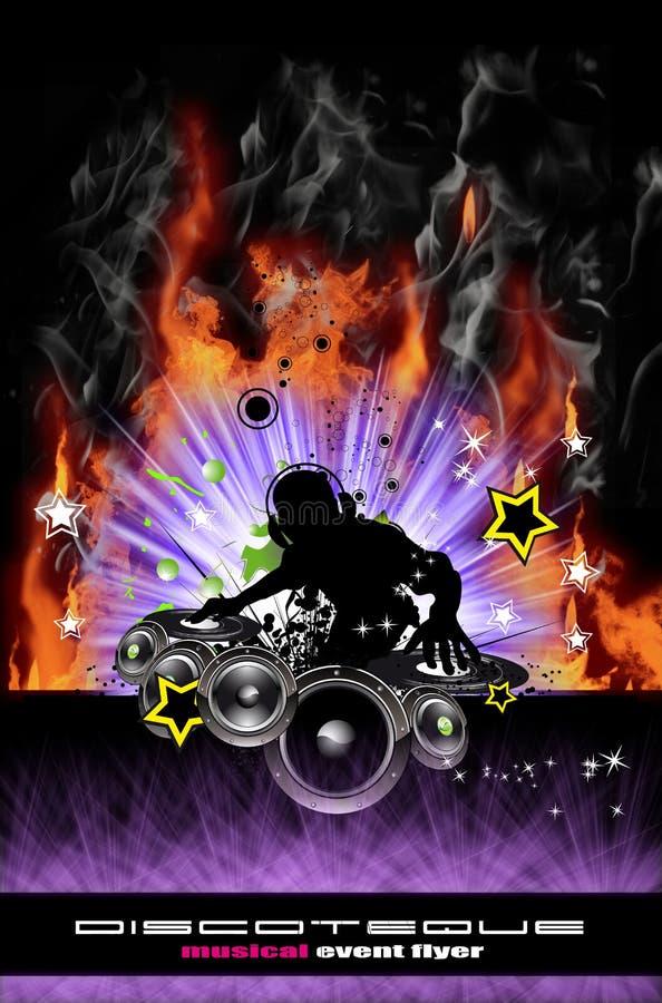 De Vlieger van DJ van Discoteque met Echte Vlammen royalty-vrije illustratie