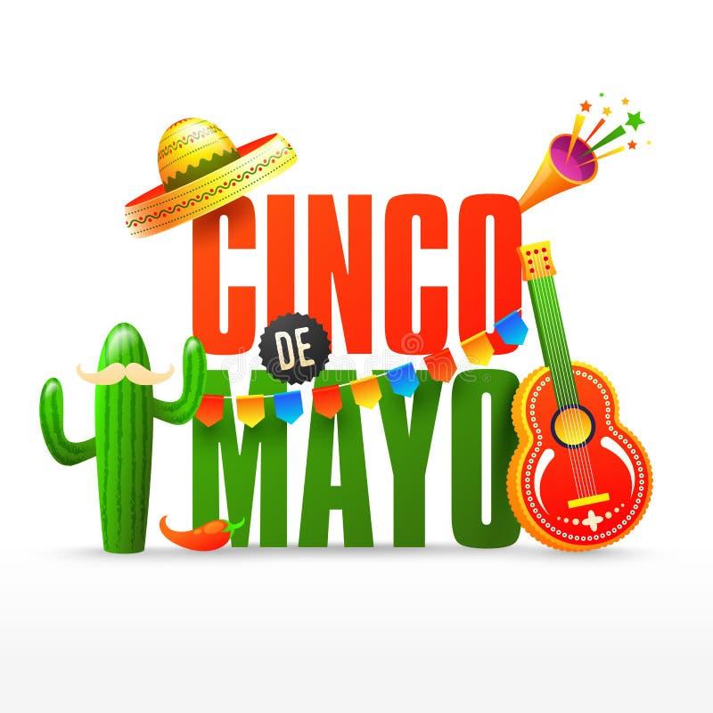 De vlieger van de fiestapartij of of afficheontwerp voor Cinco De Mayo-viering royalty-vrije illustratie