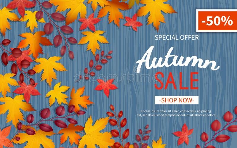 De vlieger van de de herfstkorting Speciale aanbieding, grote seizoengebonden verkoop, grote kortingen Horizontale banner met gel royalty-vrije illustratie