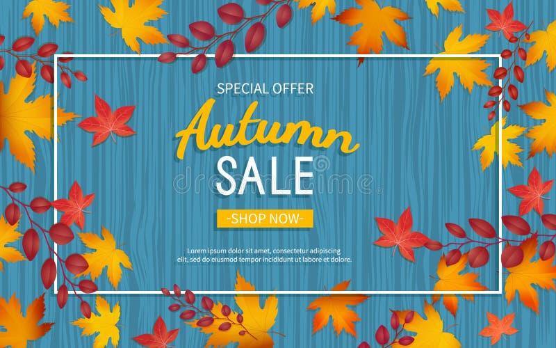 De vlieger van de de herfstkorting Speciale aanbieding, grote seizoengebonden verkoop, grote kortingen Horizontale banner met gel stock illustratie