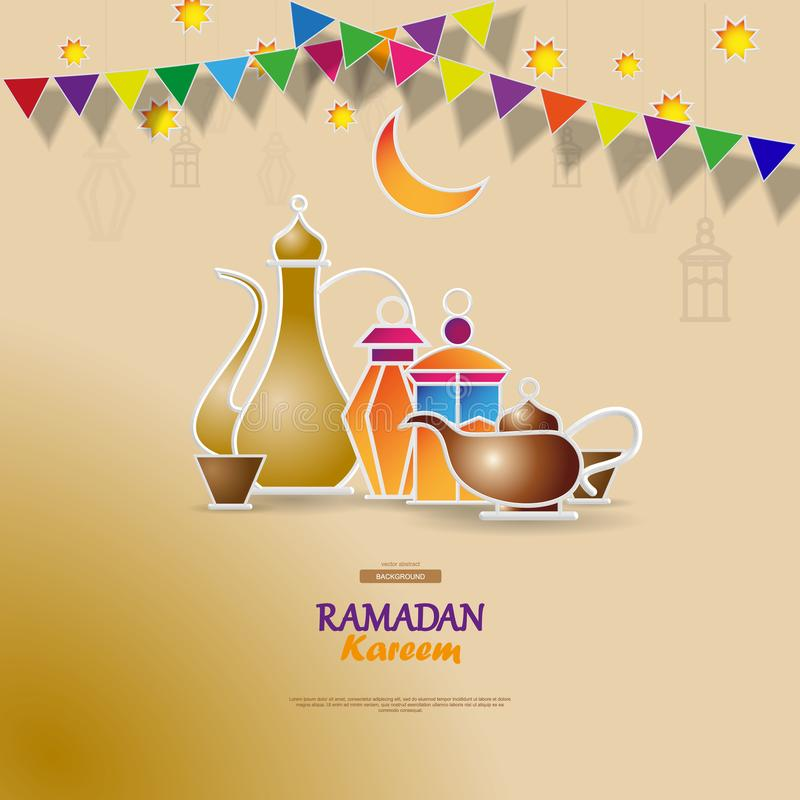De vlieger van het de vieringsconcept van de Iftarpartij Vector illustratie Zoete Data, Fanous-Lantaarn en Arabische koffiemok is vector illustratie