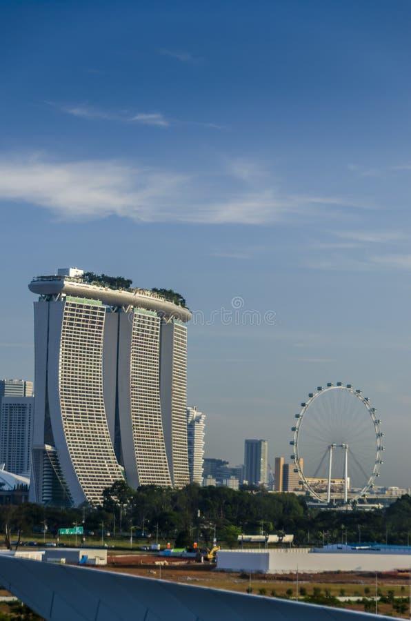 De Vlieger van Marina Bay Sands en van Singapore stock afbeeldingen