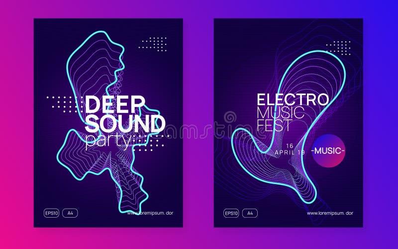De vlieger van de neonclub Elektrodansmuziek Trancepartij DJ Electroni stock afbeelding