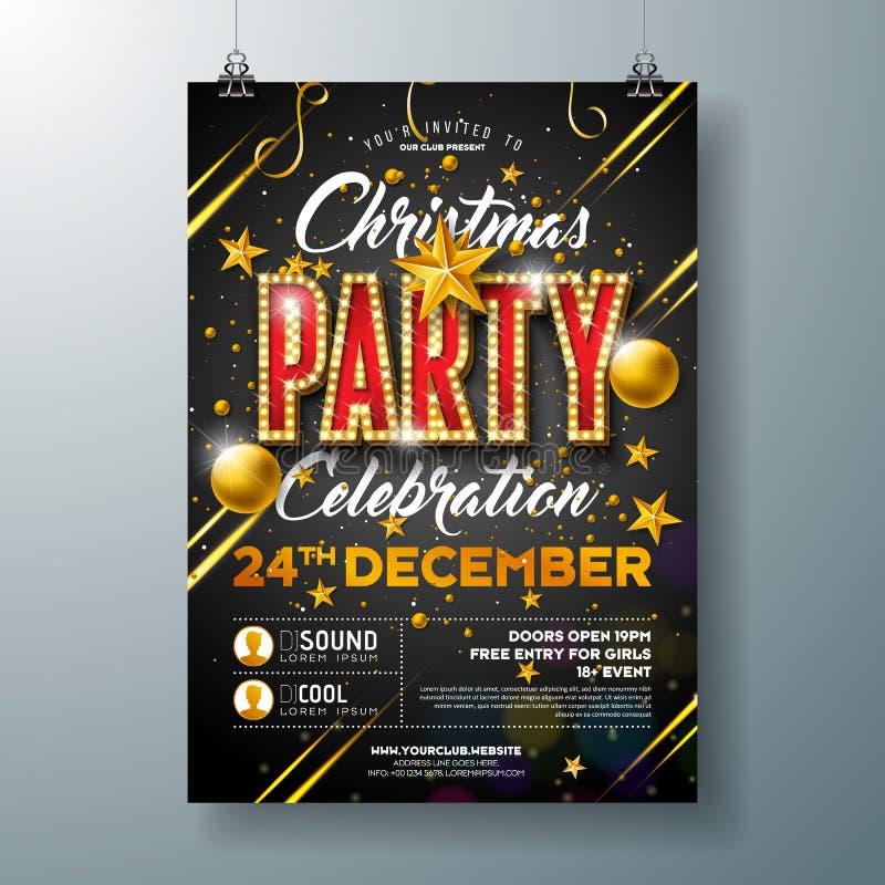 De Vliegerillustratie van de Kerstmispartij met Glasbal en het 3d Gloeilamp Van letters voorzien op Zwarte Achtergrond Vectorvaka stock illustratie