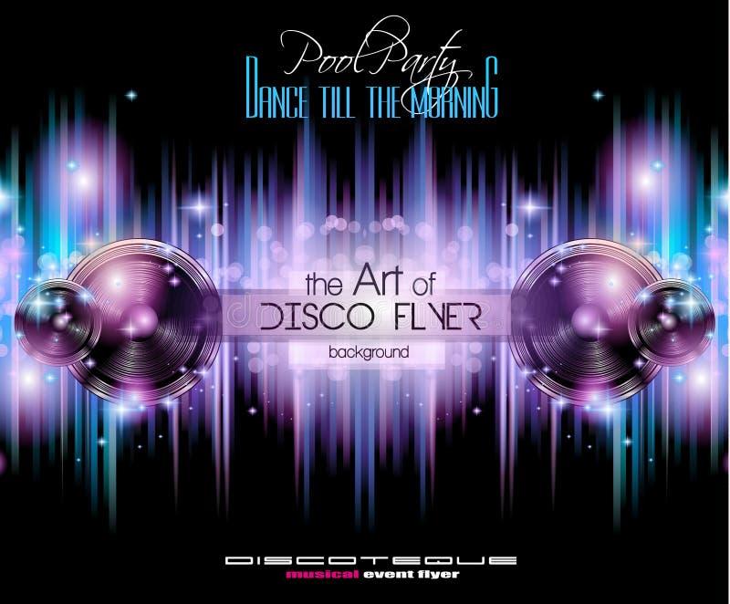 De Vliegermalplaatje van de discoclub voor uw Gebeurtenis van Muzieknachten stock illustratie