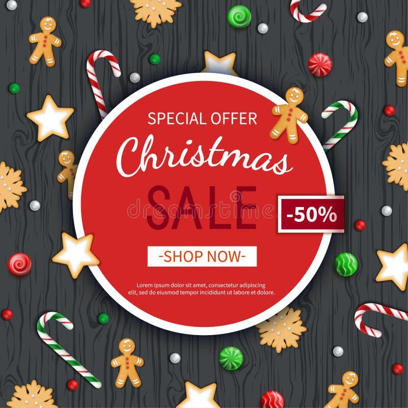 De vliegermalplaatje van de Kerstmisverkoop Affiche, kaart, etiket, achtergrond, banner op cirkelkader met snoepjes op een houten royalty-vrije illustratie
