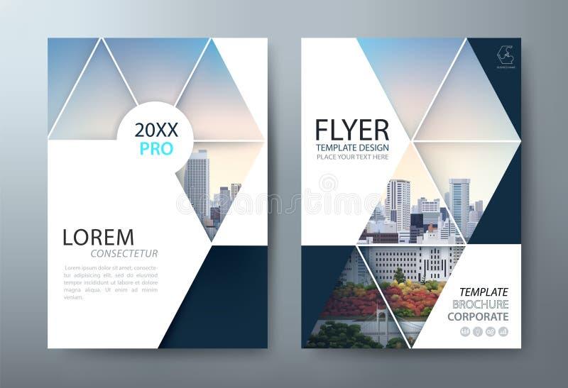 De vliegerontwerp van de jaarverslagbrochure, Pamfletpresentatie, de malplaatjes van de boekdekking, lay-out in A4-grootte Vector stock illustratie