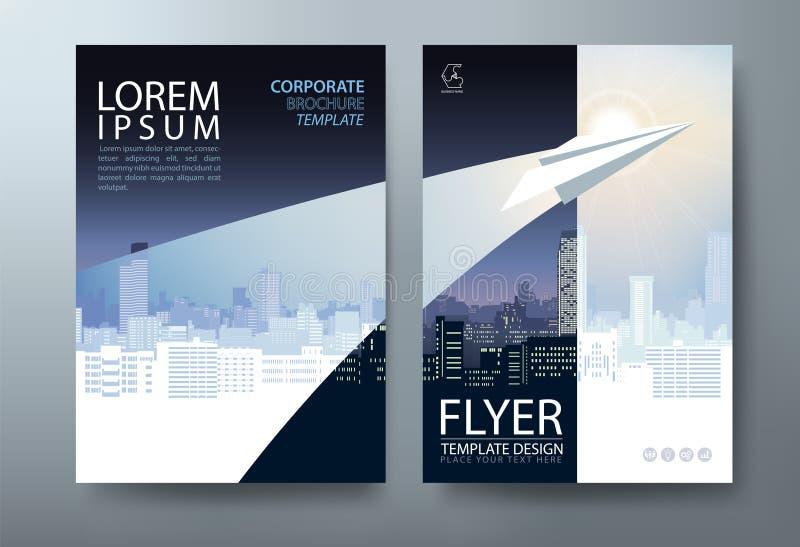 De Vliegerontwerp van de Jaarverslagbrochure Vector, de abstracte vlakke achtergrond van de Pamfletpresentatie, de malplaatjes va stock illustratie
