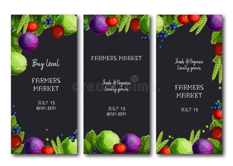 De vliegers van de landbouwersmarkt, brochure met heldere verse kool, erwten, tomaat, appelen, en bosbessen royalty-vrije illustratie