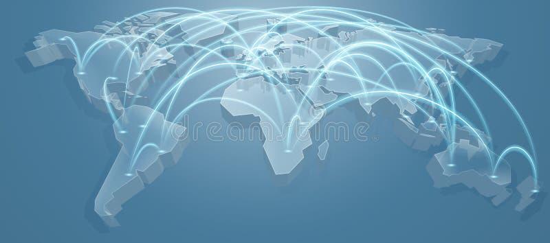 De Vliegrouteachtergrond van de wereldkaart stock illustratie