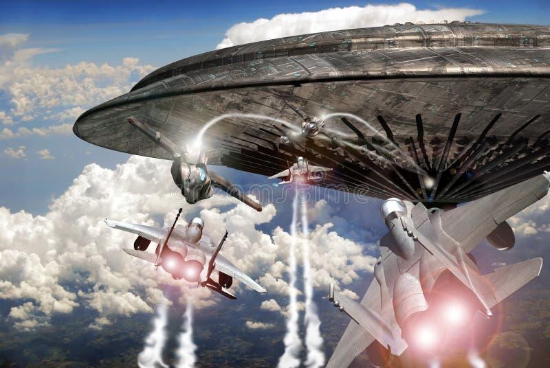 De vliegtuigen van de vechter en het gevecht van het UFO royalty-vrije illustratie