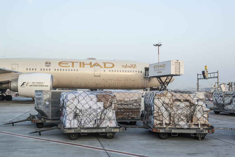 De vliegtuigen van Etihadluchtvaartlijnen stock afbeelding