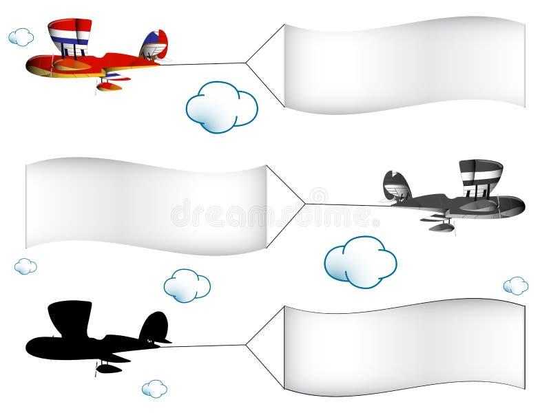 De vliegtuigen van het beeldverhaal met banners royalty-vrije illustratie