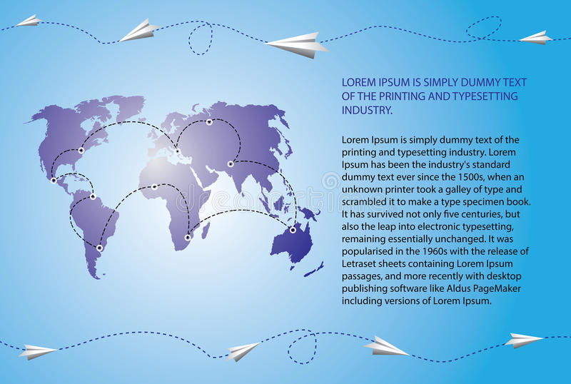 De vliegtuigen van het document vliegen over de wereldkaart royalty-vrije illustratie