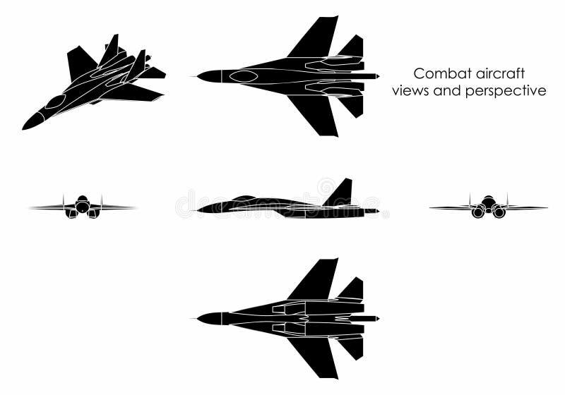 De vliegtuigen van het gevecht Zwart vul stock illustratie