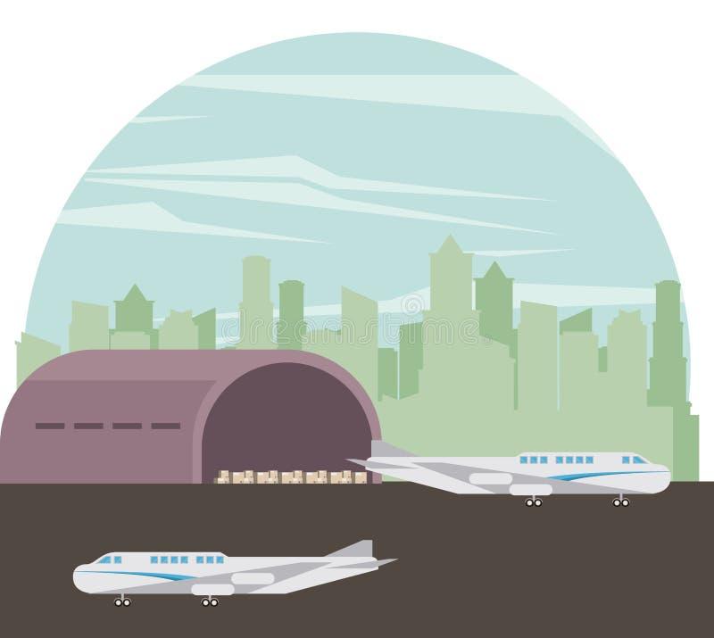 De vliegtuigenbeeldverhaal van vervoers commercieel passagiers vector illustratie