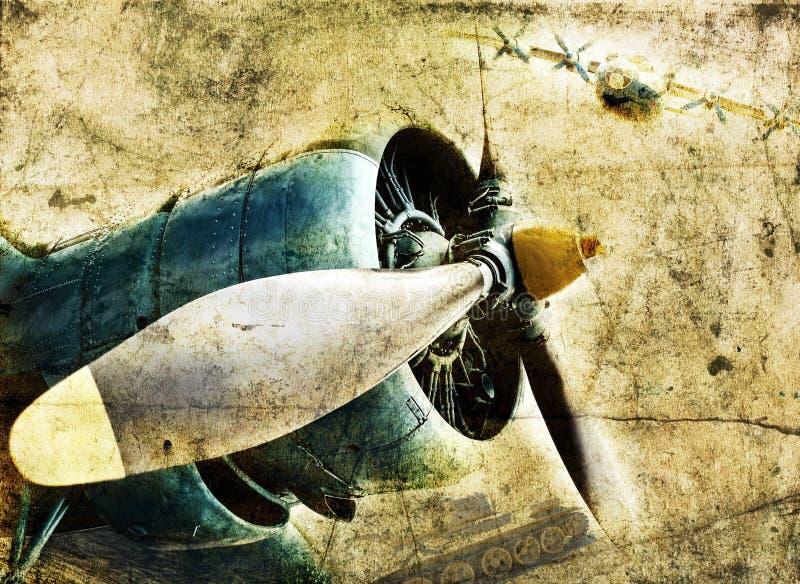 De vliegtuigenmotor van Grunge stock fotografie