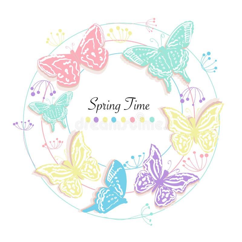 De vlinder en de bloemen omcirkelen de abstracte van de de groetkaart van de de lentetijd vectorachtergrond vector illustratie