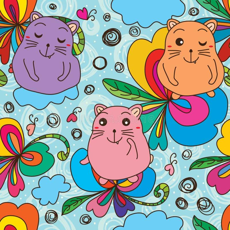 De vlinder naadloos patroon van de katten vet leuk liefde royalty-vrije illustratie