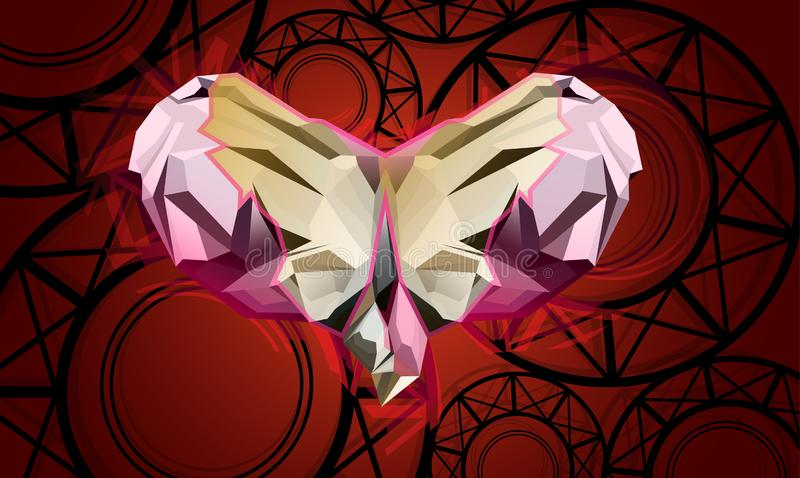 De vlinder van hartkristallen vector illustratie
