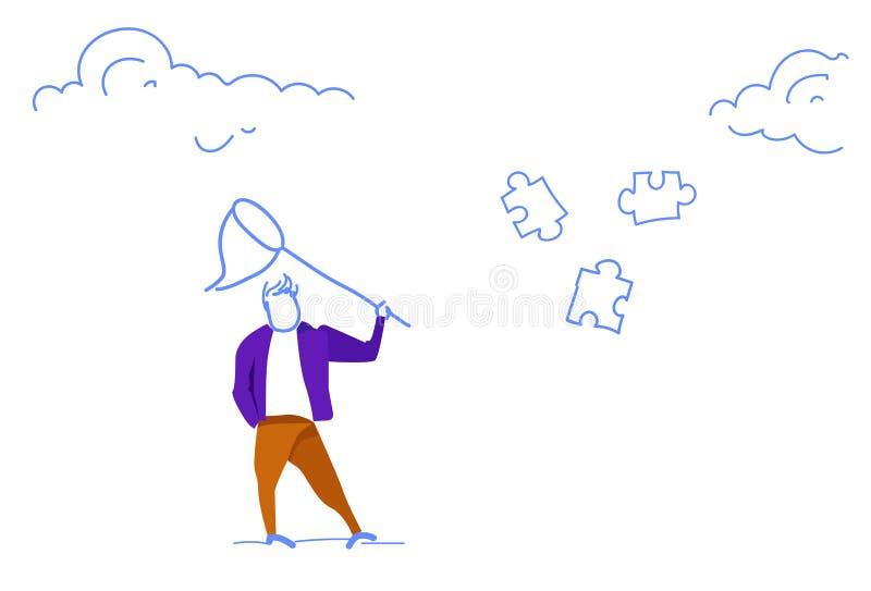 De vlinder van de zakenmanholding netto het proberen van de de delenfiguurzaag van het vangstraadsel van de het bedrijfs probleem royalty-vrije illustratie