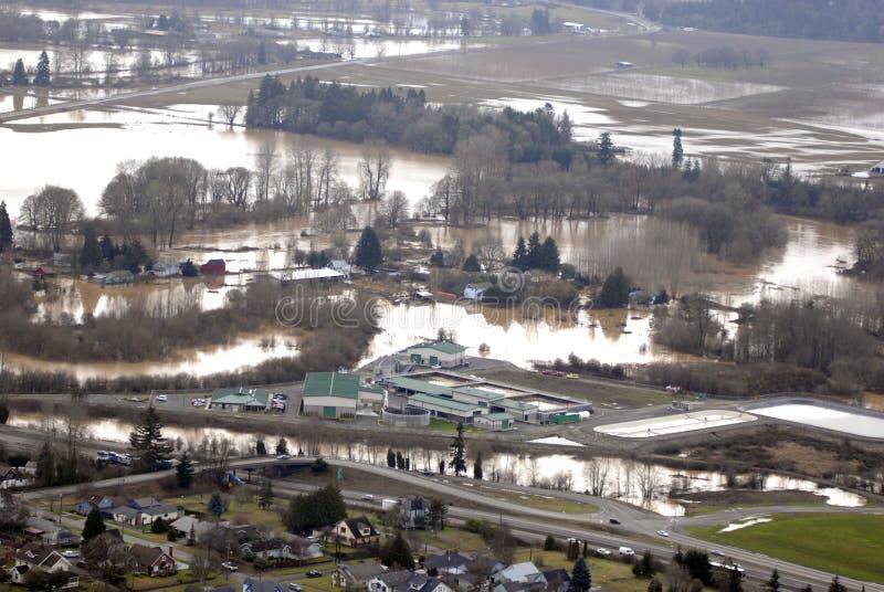 De vloed van de Rivier van Cowlitz, de staat van Washington royalty-vrije stock afbeeldingen