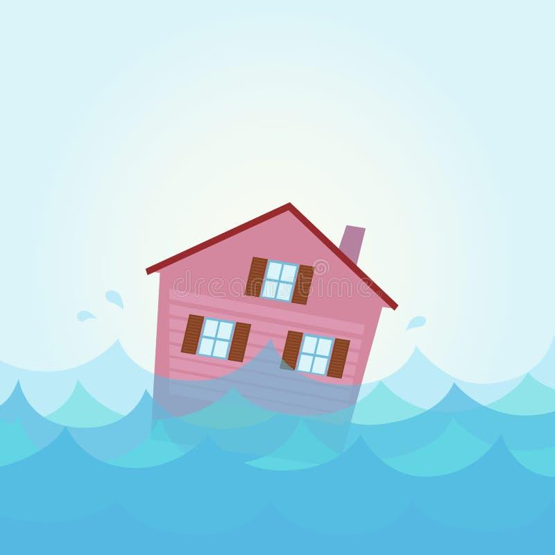 De vloed van het huis - huis overstroming onder water stock illustratie