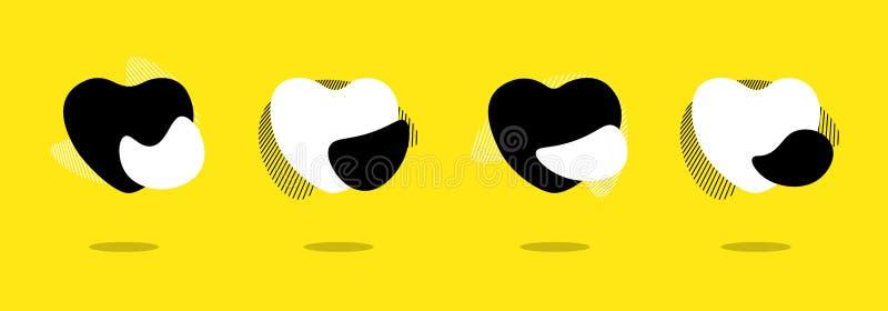 De vloeibare abstracte geometrische reeks van de het hartvorm van de vormliefde Het vloeibare moderne plastic abstracte gele malp vector illustratie